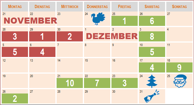 USA-Shopping-Kalender Weihnachten 2016
